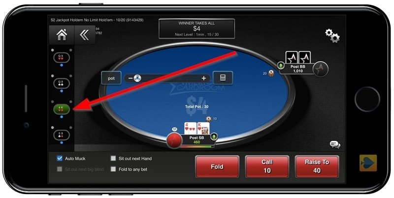 Multiple tables on America's Cardroom mobile