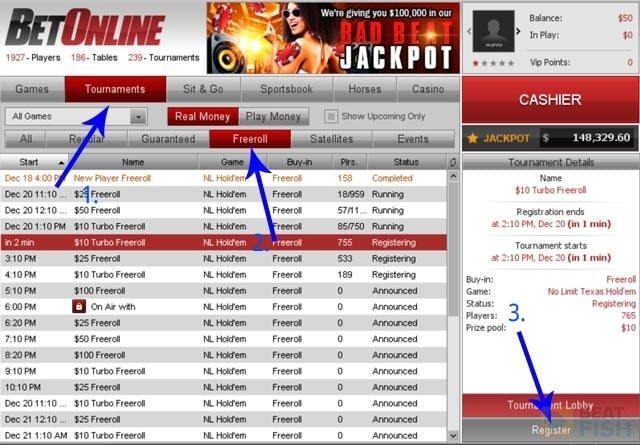 How to Play a BetOnline Freeroll