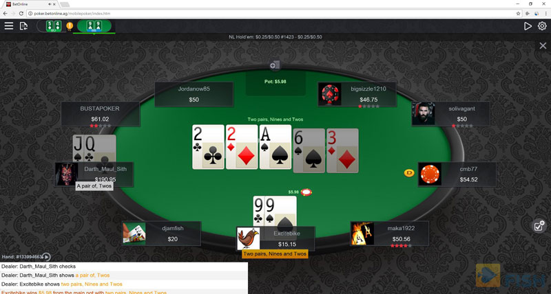 BetOnline Poker Instant Play Cash Table