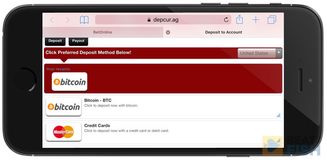 Deposit on BetOnline Mobile