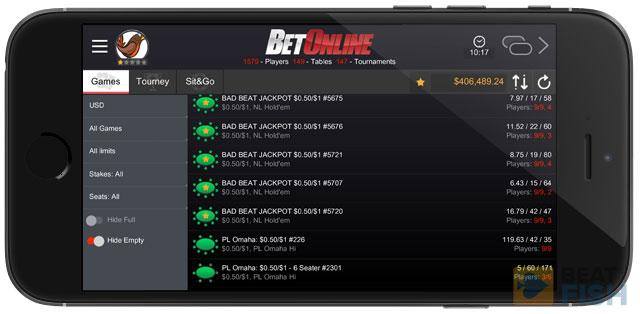 BetOnline Poker Mobile Lobby