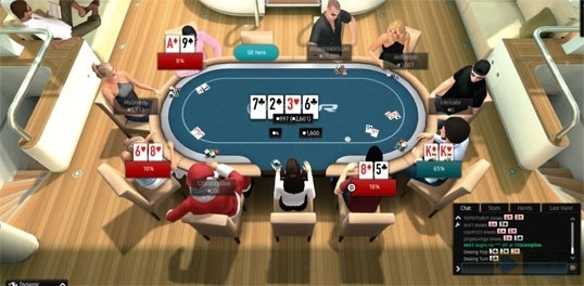 An example of a PKR table at the Yacht locale. This is the overhead view you'll see much of the time in all viewing modes.