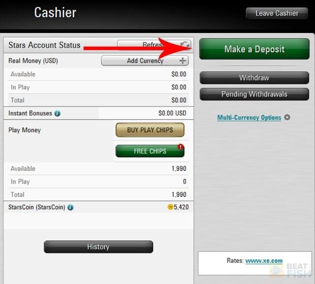 Making a PokerStars Deposit