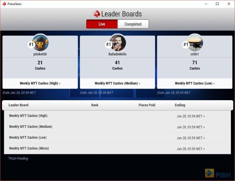 PokerStars Leader Boards