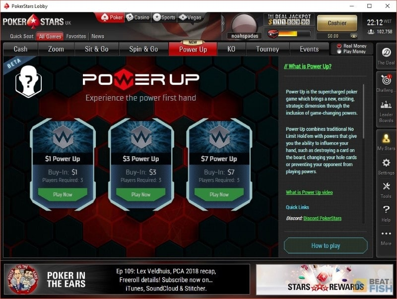 PokerStars Power Up Interface