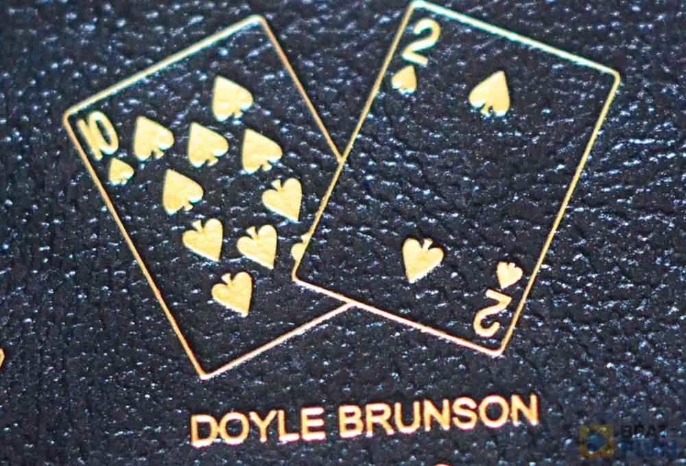 Doyle's favorite hand is emblazoned onto the back of the hardcover of his poker strategy book Super System 2.