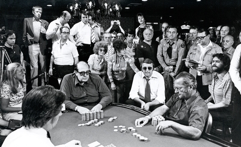 Doyle Brunson en route to his first championship at the final table of the 1976 WSOP Main Event.