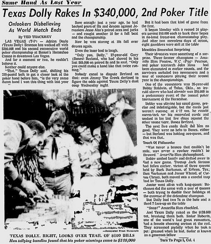 It's tough to see, but look at this incredible archival newspaper find detailing the Doyle Brunson Hand and Doyle's back-to-back win after the 1977 WSOP.