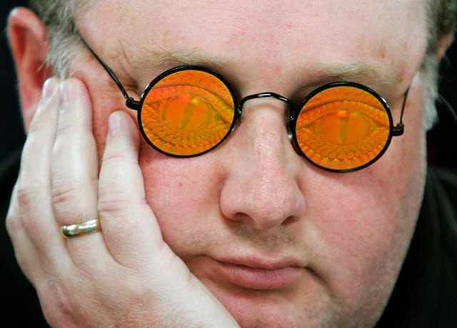 Fossilman and his scary-looking holographic glasses. How's this for a stare-down?