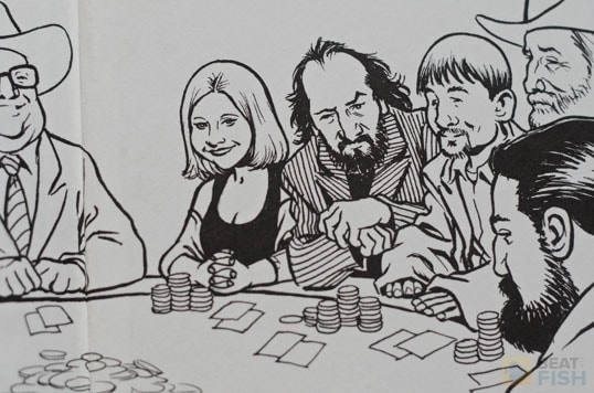 Quite a few poker player nicknames in this great illustration from the back cover of Super System 2. Texas Dolly on the left with the Mad Genius next to Kid Poker.