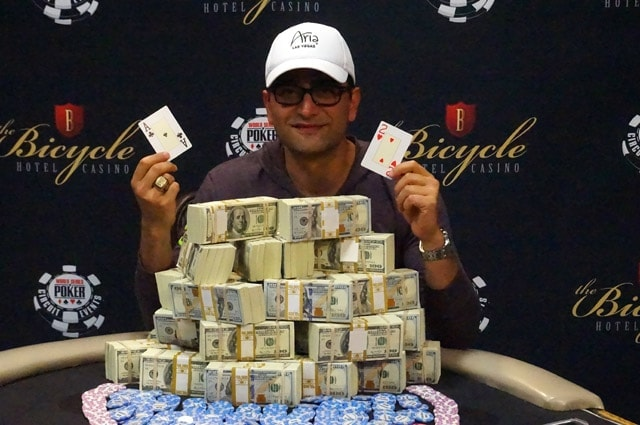 Antonio Esfandiari wins his first WSOP Circuit ring and $226k first place money at the Bike (source: WSOP.com)