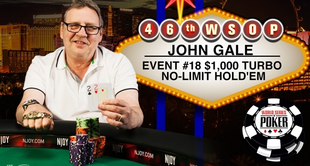 John Gale moments after winning his second WSOP bracelet in 2015