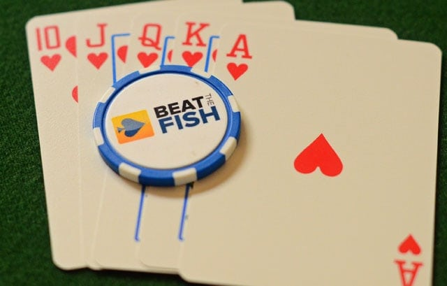 Royal flush in hearts - arguably the most beautiful poker hand one can make