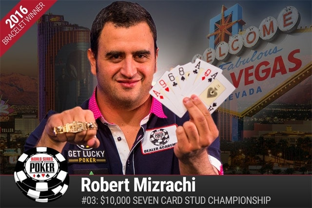Robert Mizrachi wins WSOP bracelet number four, outlasting the stacked final table of the $10k Stud Championship