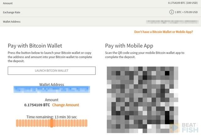 Bitcoin Deposit Address at Ignition