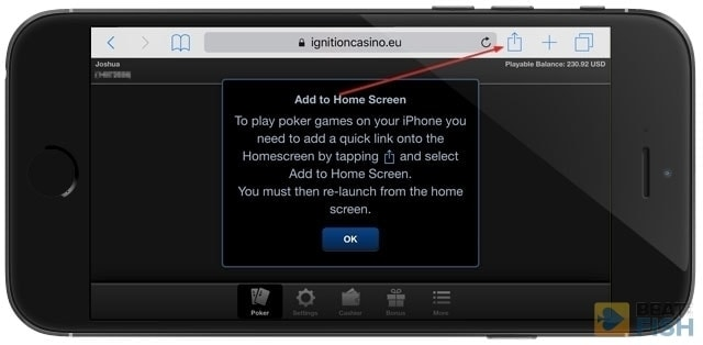 Ignition Poker on iPhone