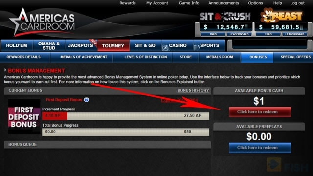 How to redeem Americas Card Room bonus money