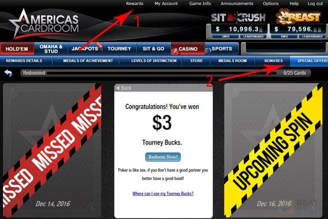 Americas Cardroom bonus code for Jackpot Poker