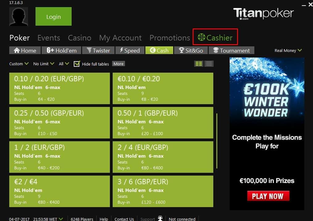 Titan Poker Cashier