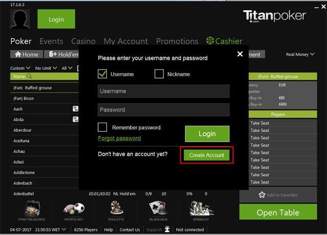 Creating an Account at Titan Poker