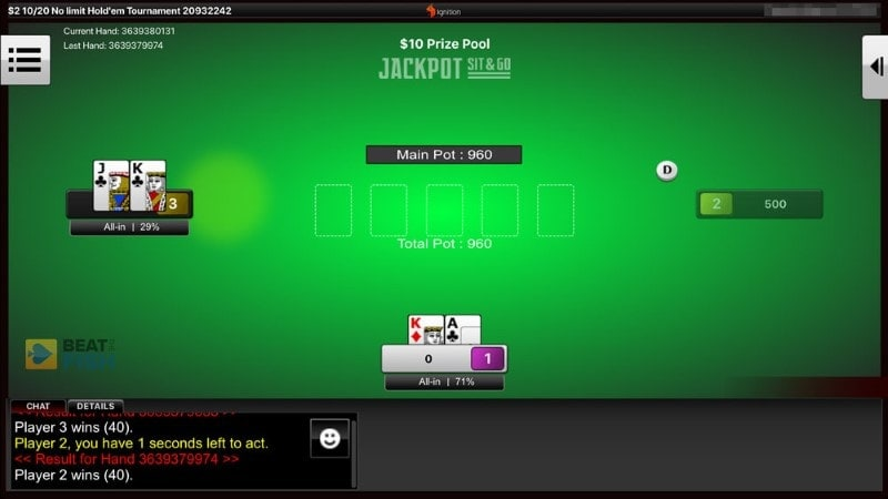 Ignition Poker Jackpot Sit & Go table