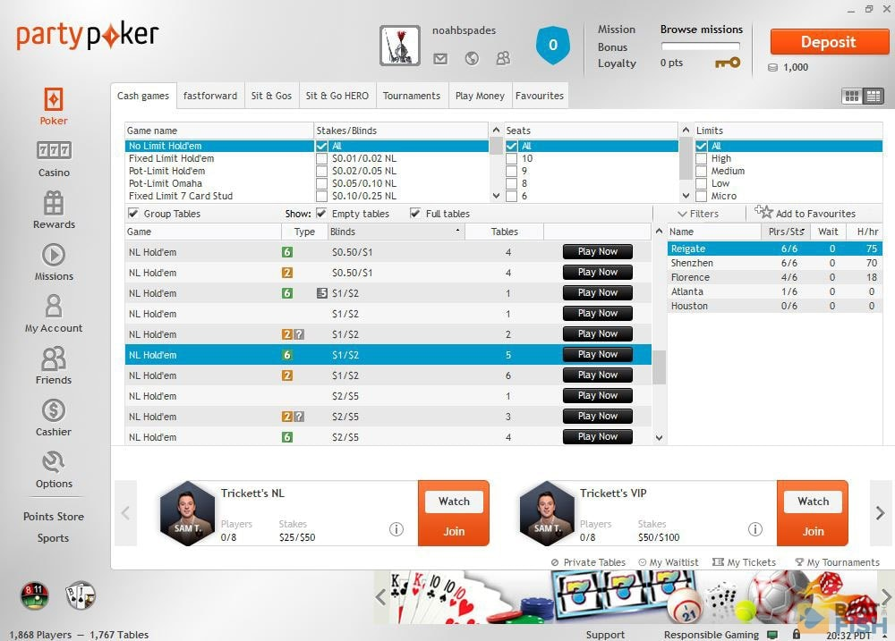 Partypoker Seating Scripts
