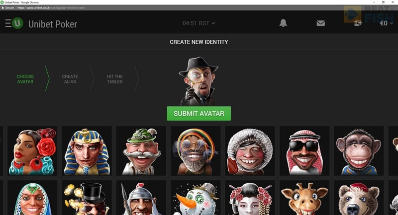 Selecting an Avatar at Unibet Poker