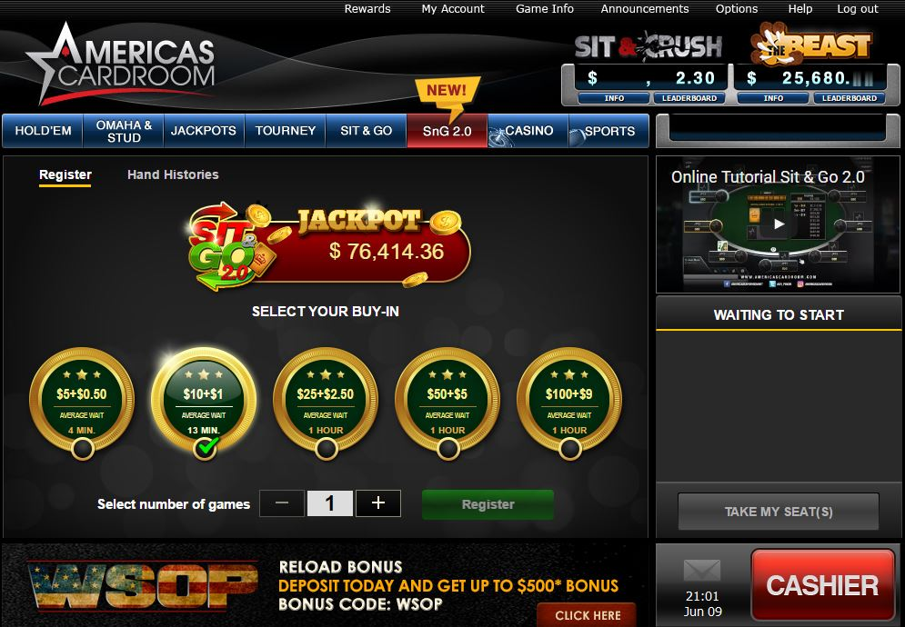 New Poker Sites Sit & Go's