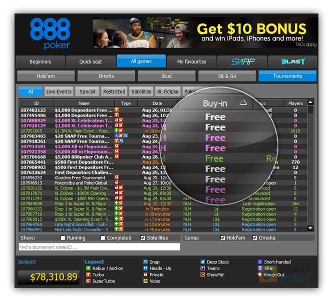 888 Poker Freerolls