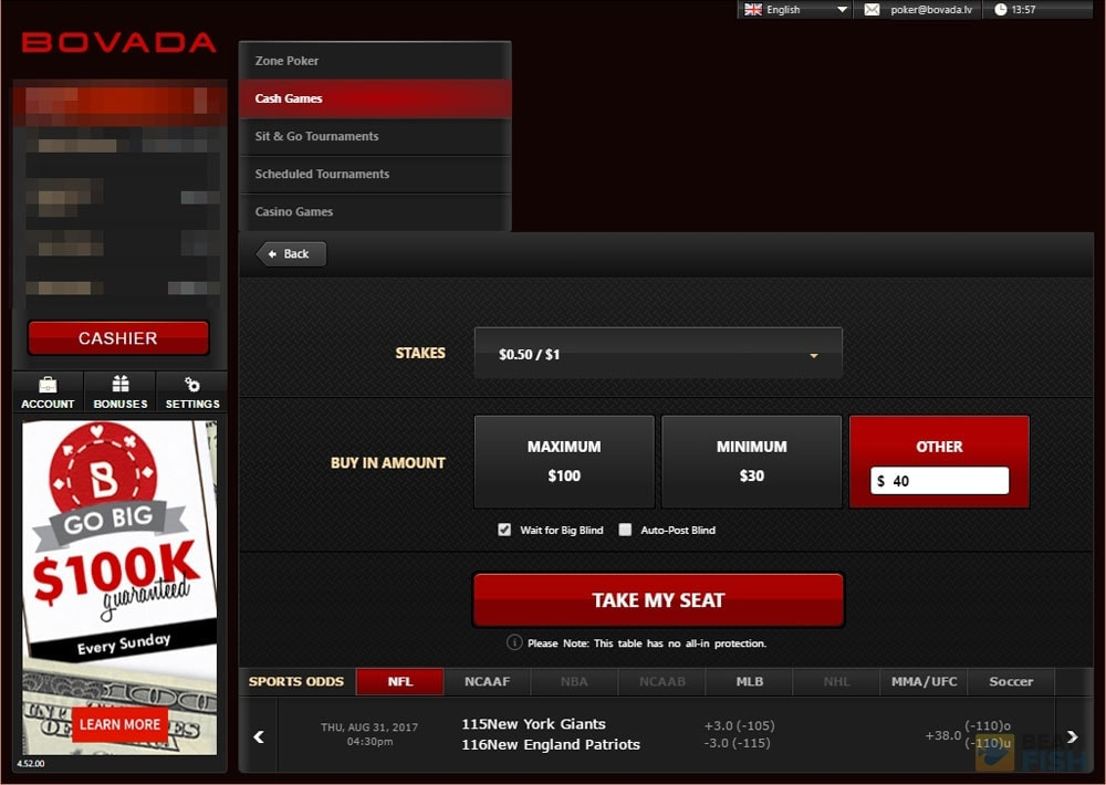 Bovada Poker Cashout