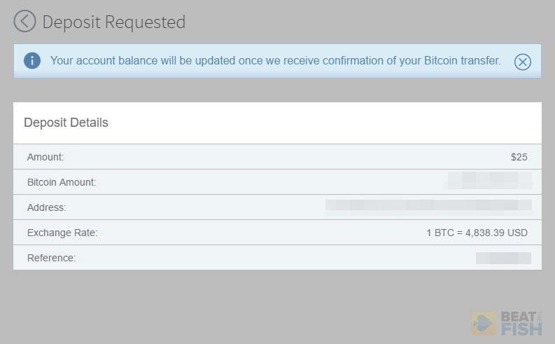 Bovada Confirmed BTC Deposit