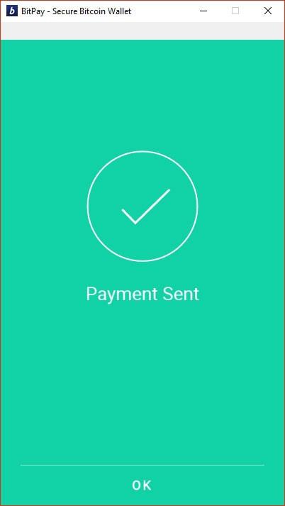 Bitcoin Payment Sent
