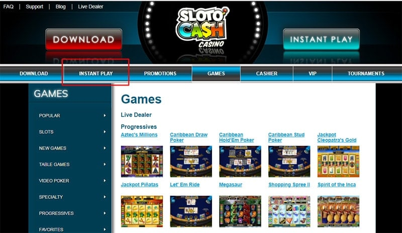 Instant Play at Sloto Cash