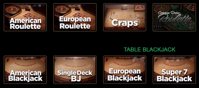 Casino Table Game Selection
