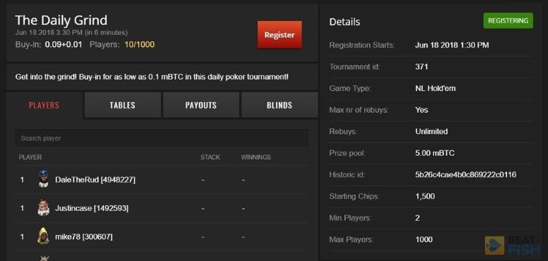 Nitrogen Poker Tournament Lobby