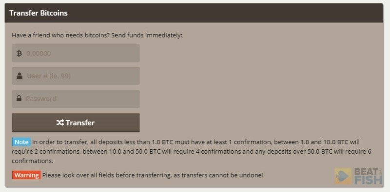 Transfer Bitcoin at Nitrogen Sports