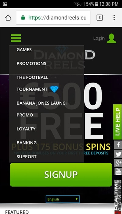 Diamond Reels Casino on Mobile