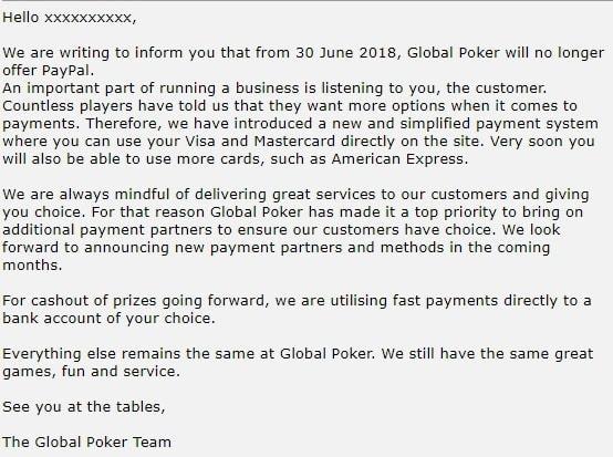 Global Poker PayPal Warning