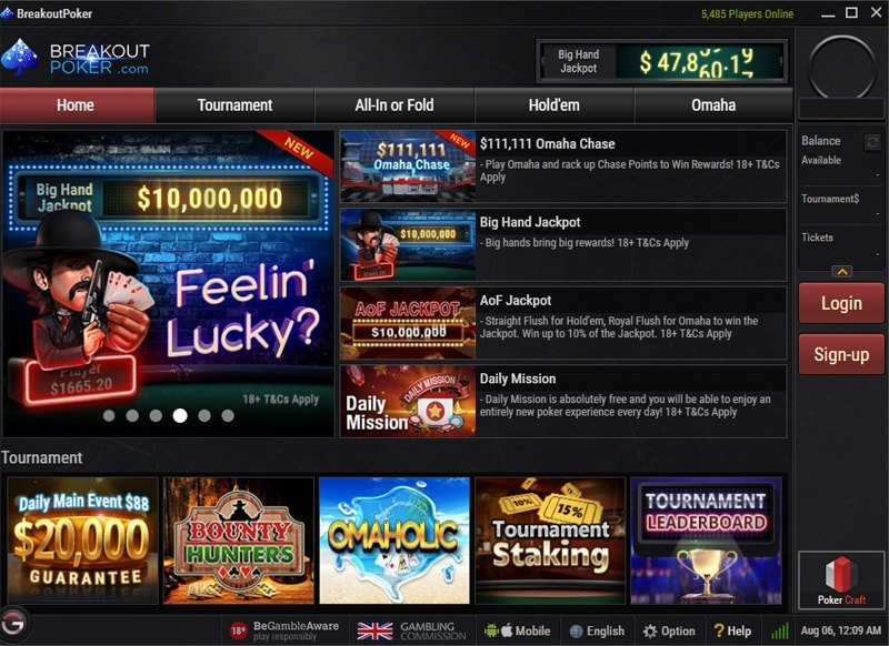 Breakout Poker main lobby