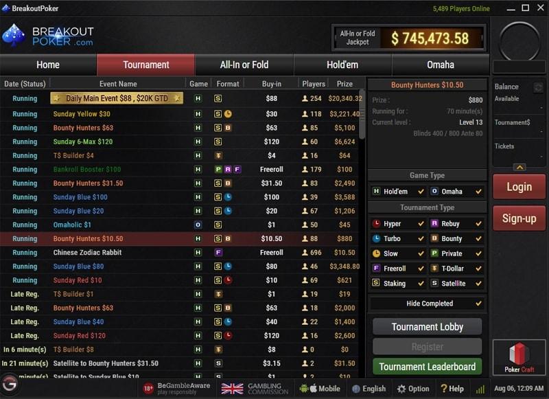 Breakout Poker Tournament Schedule