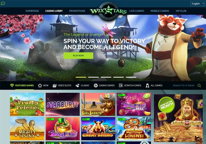Wixstars Casino Game Lobby
