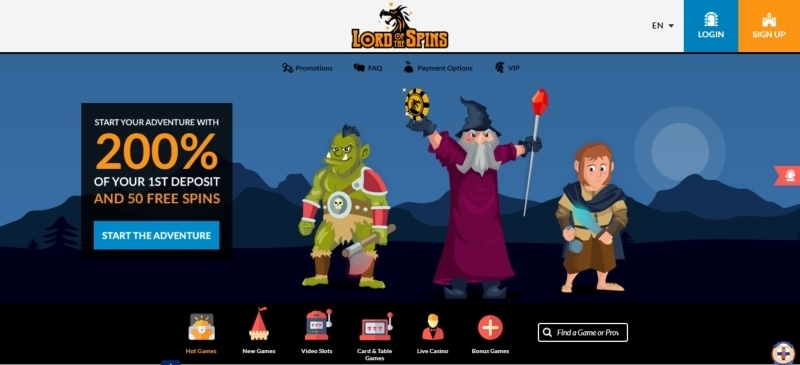 Lord of the Spins casino website