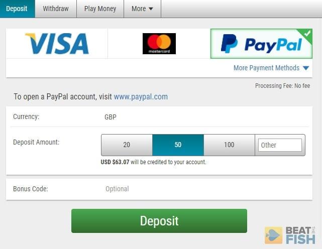 PayPal Kassierer-Einzahlung