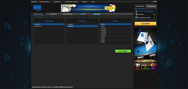 888 Linux poker lobby