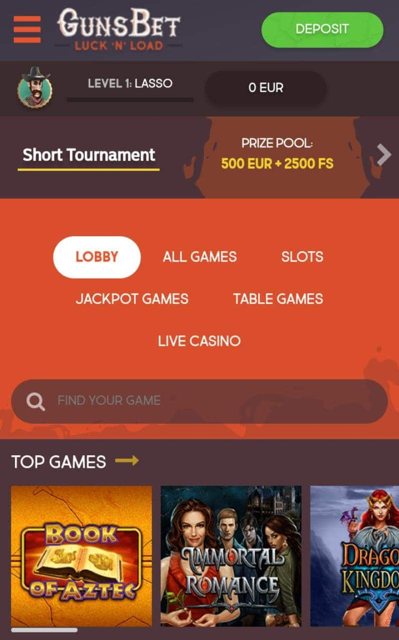 Gunsbet Casino on Mobile