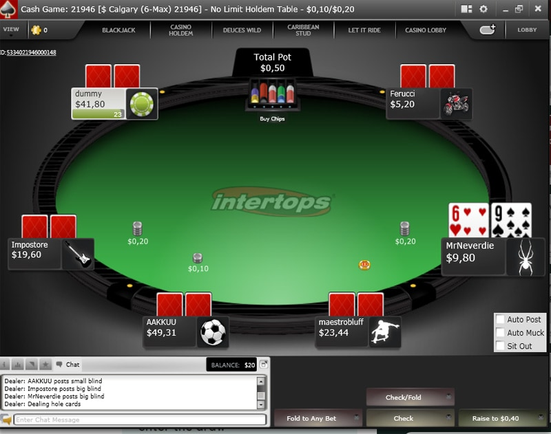 Intertops Example Poker Hand