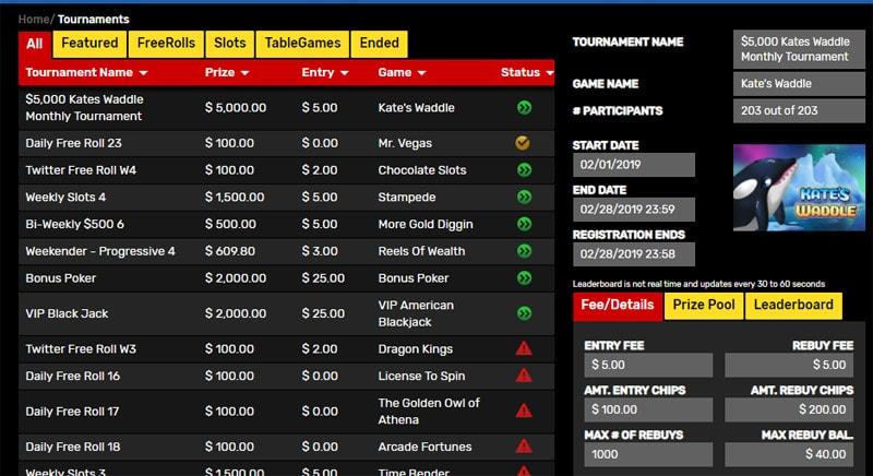 Daily tournaments at Drake Casino