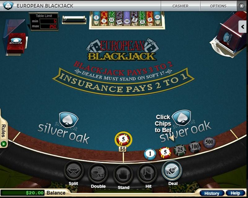 Blackjack Table at Silver Oak Casino