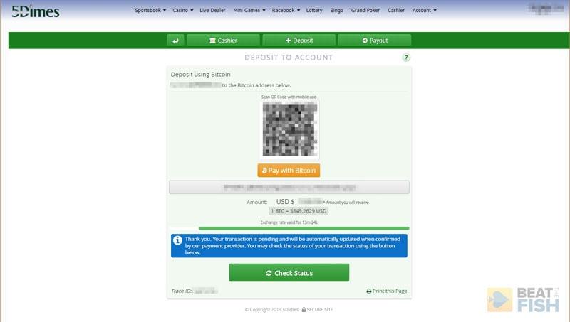 5Dimes Bitcoin Deposit