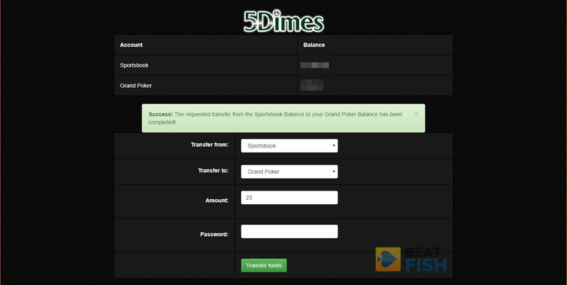 Transfer from 5Dimes to Grand Poker